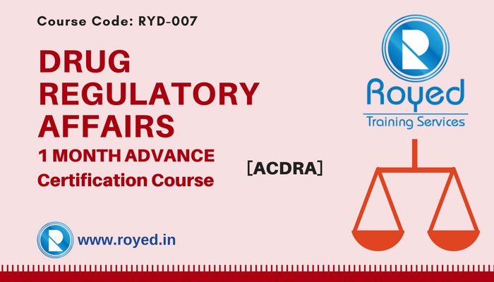 drug regulatory affairs 1 month course